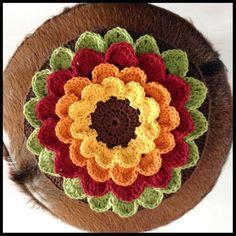 Herfst bloem  Met NL patroon  Crochet, diy, haken  Free pattern
