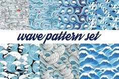 Beautiful pattern set of sea waves by Tanor on @creativemarket