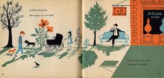 """""""What Makes a Shadow"""" illustrated by Adrienne Adams (1962)"""
