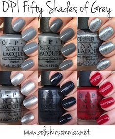 OPI Fifty Shades of Grey. Didn't care about the movie, but I'm really liking these shades Grey Nail Polish, Gray Nails, Opi Nail Colors, Opi Nails, Nail Nail, Coffin Nails, Fifty Shades Of Grey, 50 Shades, Nail Decorations