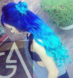 Royal turquoise blue ombre two tone dyed hair
