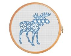 Christmas deer nordic pattern cross stitch by PatternsCrossStitch