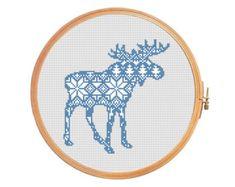 Christmas deer nordic pattern cross stitch by PatternsCrossStitch