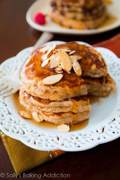 Healthy Whole Wheat Oatmeal Pancakes. Soft, wholesome pancakes made with simple ingredients | sallysbakingaddiction.com