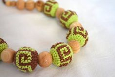 Pistachio Brown Crochet nursing necklace Breastfeeding necklace Organic teething baby Wooden beads Eco friendly jewelry Gift for new Mom