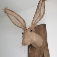 This is a hessian hare head. A OOAK piece of textile art, a soft sculpture with attitude. This piece is for the art lover with the playful mind intact. I used hessian, wire for the ears, strong thread and a needle... a lot of bleeding fingers and a bea...
