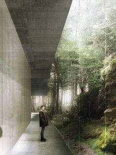 Centre d'art Pariétal, Lascaux. Render / Visualisation by Luxigon.