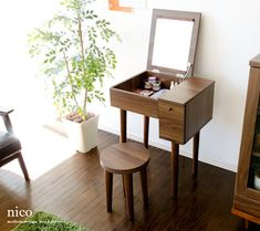 air-rhizome: Dresser Dresser mirror mirror side Dresser wooden Dresser desk desks with stools, makeup table mid-century modern simple Nordic storage chest makeup units wooden Dresser nico [Niko] Small Vanity Table, Makeup Table Vanity, Vanity Desk, Vanity Tables, Makeup Vanities, Wooden Makeup Vanity, Makeup Tables, Bathroom Vanities, Room Interior