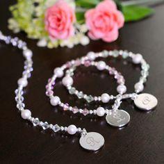 swarovski crystal bracelet with monogram charm for bridesmaids