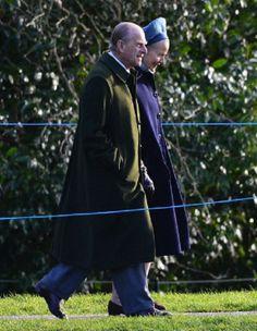Prince Philip, Duke of Edinburgh arrives at St. Mary Magdalene Church, Sandringham to attend Sunday service on 05.01.2014