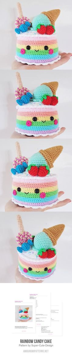 #kawaii #crochet #candy #cake #icecream #strawberries #berries #cone