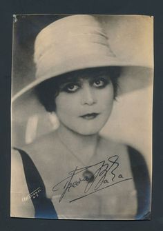1920's THEDA BARA Famous Silent Film Actress Signed Photo (Stamped Signature)