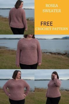 You're going to love the crochet Rosea sweater! It's a round yoke top down crochet pullover, with beautiful subtle details. Crochet Woman, Love Crochet, Crochet Yarn, Easy Crochet, Crochet Stitches, Crochet Patterns, Crochet Tops, Crochet Ideas, Crochet Sweaters