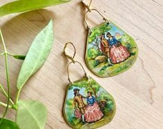 Vintage Tin Charming Lady and Gentleman Romance Pink Green and Gold Leverback Dangle Earrings Tea Storage, Lady And Gentlemen, Handmade Sterling Silver, Green And Gold, Artisan Jewelry, Antique Gold, Tin, Dangles