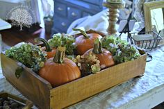 Pumpkins and dried hydrangeas....I can do that!