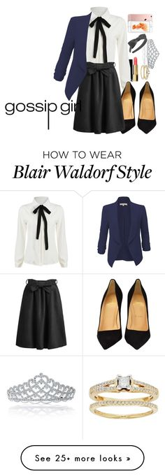 """Blair Waldorf Inspired Gossip Girl"" by kittycat-477 on Polyvore featuring Bling Jewelry, Chanel, Christian Louboutin, L. Erickson, LE3NO, blairwaldorf, gossipgirl, blair, gg and waldorf"