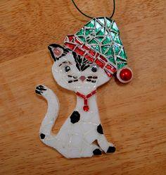 Cat In a Santa Hat Ornament Ooak Original Mosaic Ornament by zzbob