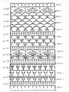 Crochet Stitches Chart, Crochet Diagram, Crochet Motif, Crochet Lace, Crochet Skirts, Crochet Clothes, Stitch Patterns, Knitting Patterns, Crochet Patterns