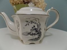 Vintage Sadler Teapot 1950's White With by TymelyTreasures on Etsy