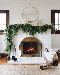 Our 2019 Home Renovation Project List | In Honor Of Design Christmas Mantels, Christmas Home, Christmas Pajamas, Christmas Greenery, Christmas Fireplace Decorations, Mantle Greenery, Mantle Garland, Modern Christmas Decor, Greenery Garland