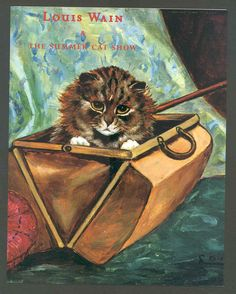 """t Louis Wain Invitation to Art Gallery Exhibition 1999 """"The Summer Cat Show"""" 