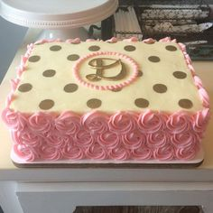 Image result for first birthday birthday sheetcake gold and pink