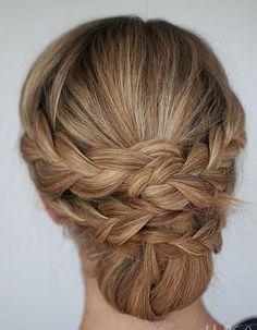 White and Gold Wedding. Bridesmaid Hair. Natural Hair. Braided updos for long hair photos