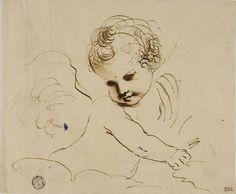 Putto en las Nubes, dibujo de Guercino (Barbieri, Giovanni Francesco) (1591-1666, Italy)