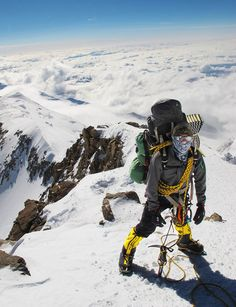 Picture of Paul Watkins at high camp at above sea level, on Denali's west buttress. I would be too scared to climb a mountain Mountain Climbing, Rock Climbing, Monte Everest, Adventure Aesthetic, Escalade, Adventure Photography, Extreme Sports, Mountaineering, Adventure Is Out There