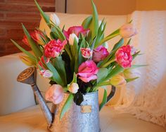 A vintage / modern watering can full of tulips and roses, beautiful floral arrangement put together by Mio Sole Florals for Valentines Day. This is perfect for a spring arrangement for any occasion.
