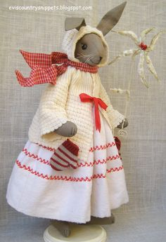 """Millie Cottontail"" Linen rabbit dressed for winter by Evi Araujo, eviscountrsnippets.blogspot.com"