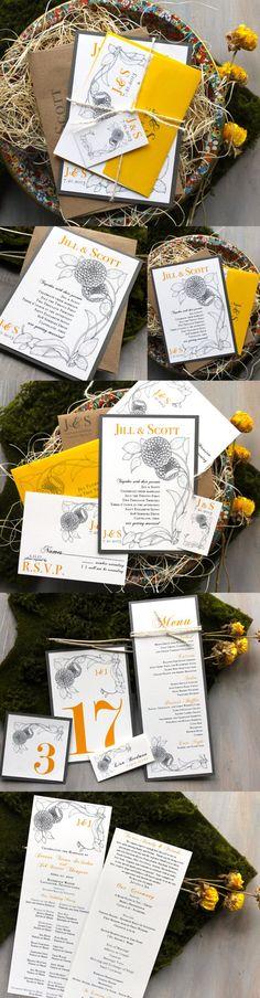 Vintage Yellow Boho Wedding Invitations Yellow by BeaconLane