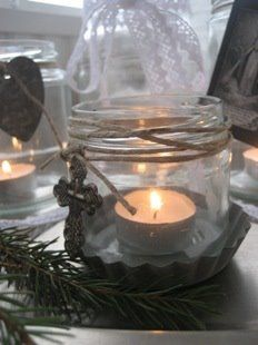 great decor idea~candle jar...make from babyfood jars etc...