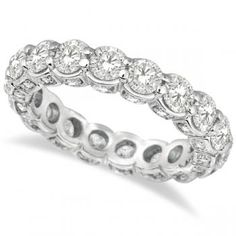 Luxury Prong Set Diamond Eternity Ring Band 18k White Gold (3.80ct) - Allurez.com