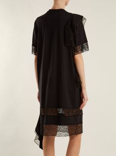 Asymmetric ruffled-trimmed cotton-jersey dress | Givenchy | MATCHESFASHION.COM