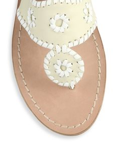 5e1408369 Jack Rogers Palm Beach Leather Thong Sandals - Bone White 10.5 Jack Rogers
