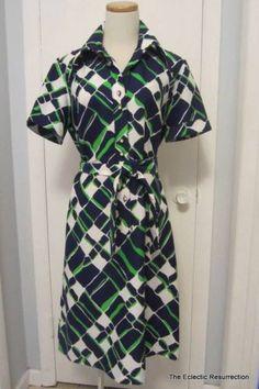 Vintage Lanvin Dress Mod Abstract Geometric Shirtdress True Vintage Medium Large | eBay