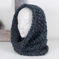 Cowl Scarf with Hood Scoodie Hooded Scarf Charcoal by AnotherCup,