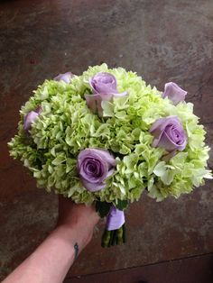 Purple and green bridal bouquet, roses and hydrangea, wedding flowers, memphis, tn