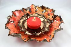 Clay Candle Holder  Ceramic Free Formed by SueDicksonGallery, $95.00