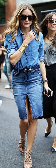 Olivia Palermo Denim Pencil Skirt and Laced Up Heels
