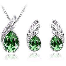 Women Pendant Necklace Earrings Bridal Crystal Fashion Wedding Jewelry Sets Hot