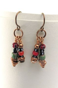 Earrings with African trade beads on copper