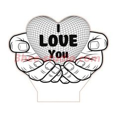 Big love heart in hands illusion lamp plan vector file for CNC - Cnc Projects, Laser Cutter Projects, Graveuse Laser, Best Gifts For Couples, Monster Truck Coloring Pages, 3d Optical Illusions, Line Art Design, Heart Illustration, Lampe Led