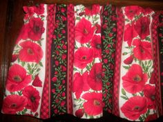 Red Plaid Poppies Poppy Stripes Flowers fabric curtain Valance #Handmade #ArtsCraftsMissionStyle