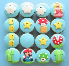 seen: super mario cupcakes Cole is turning four at the end of March and we're brainstorming ideas. The most obvious: Super Mario, Wii edi. Bolo Do Mario, Bolo Super Mario, Mario Cake, Super Mario Party, Super Mario Cupcakes, Cupcakes Cool, Amazing Cupcakes, Peach Cupcakes, Decorated Cupcakes