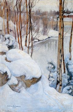 The Life and Art of Pekka Halonen, Talvipäivä (Winter), 1910 Landscape Art, Landscape Paintings, Fall Paintings, Scandinavian Paintings, Scandinavian Art, Winter Trees, Winter Art, Romanticism Paintings, Snow