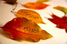 Leaf place cards way too cute. For many different occasions.