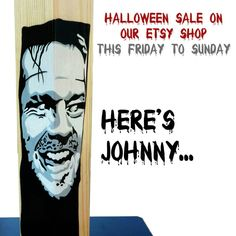Halloween sale this Friday to Sunday! Just use the coupon code HALLOWEEN15 at checkout ! Don't miss it! Here's Johnny, Wooden Lamp, Halloween Sale, Gift For Lover, Boyfriend Gifts, Coupon Codes, How To Draw Hands, Sunday, Coding