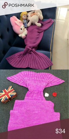 Pink mermaid tail blanket adult size This hand-knitted mermaid tail blanket is available in two sizes.  One size for children another for an adult. This is for the adult size which I am selling at the same price I would for the child size. This way it will work for both Intimates & Sleepwear